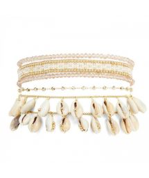 White & golden cuff and with pearls and cowrie shells - SAMOA WHITE HIPANEMA