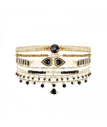 Gold plated pearl and black stones cuff with double heart cabochon - SPLENDOR BLACK HIPANEMA