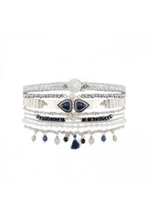 Silver plated pearl and black stones cuff with double heart cabochon - SPLENDOR BLUE HIPANEMA