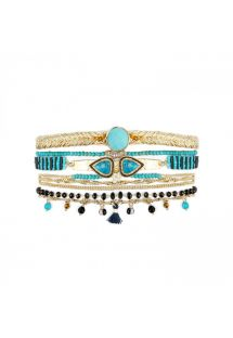 Gold plated pearl and turquoise stones cuff with double heart cabochon - SPLENDOR TURQUOISE HIPANEMA