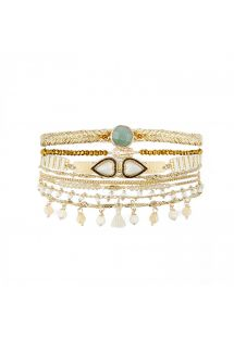 Gold plated pearl and white stones cuff with double heart cabochon - SPLENDOR WHITE HIPANEMA