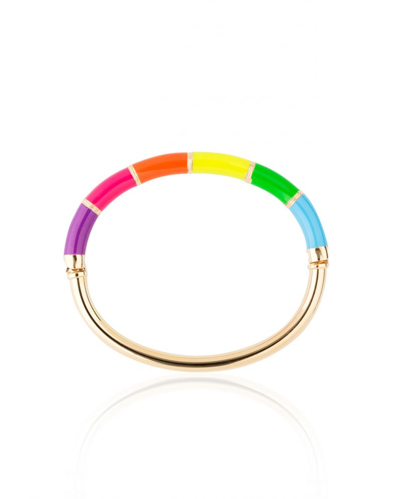 Gold-plated and resin multi-coloured bangle bracelet - BRACELETE COLORIDO
