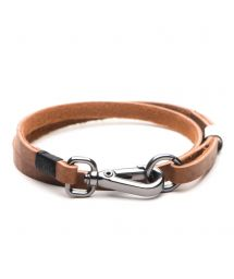 Caramel synthetic leather bracelet with clasp JOHNSON CARAMEL