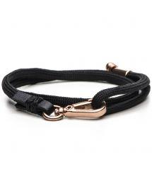 Black cord bracelet, rose gold plated fasteningLEVINE-ROSE GOLD
