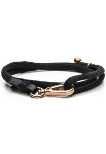 黒い紐のブレスレット、ピンクゴールドメッキの留め具つき LEVINE-ROSE GOLD