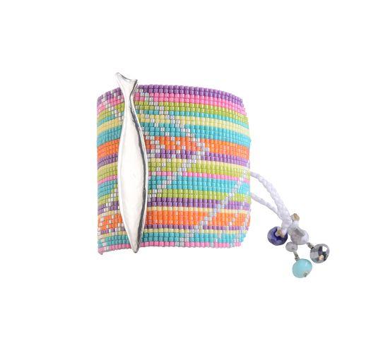 Широкий браслет из цветного бисера с серебристым декоративным элементом - AQUA SP 1487