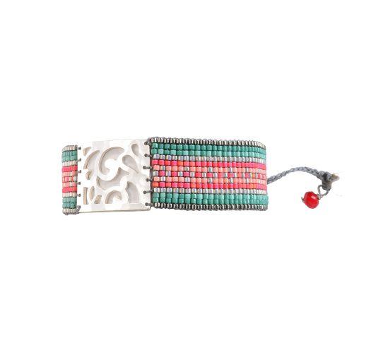 Bracelet ARABESQUE GREEN CORAL GREY