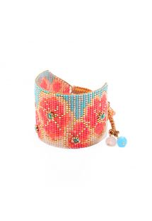 Cuff with colourful beads and a flowery pattern - Aster BE 4148L