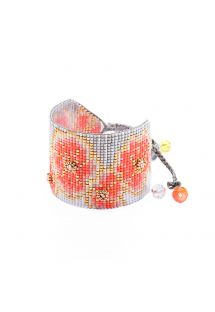 Floral pattern coral/grey cuff with beads - Aster BE 4149L
