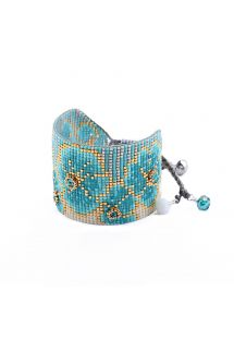 Floral pattern blue/golden cuff with beads - ASTER BE 4150L