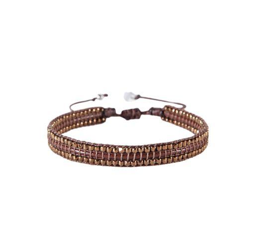 Burgundy slim copper beaded bracelet - BAMBU LE 871