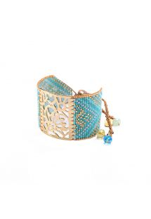 Blue/gold cuff with beads and an engraved plaque BLOSSOM GP 4143L