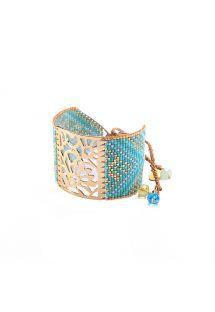 Brazalete azulado y dorado de abalorios con palaca labrada BLOSSOM GP 4143L