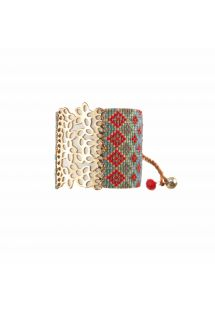 Red and blue beaded cuff bracelet with engraved plate - BRANCH GP 924