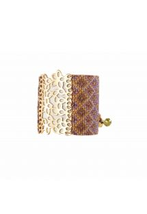 Dark mauve and gold beaded cuff bracelet with gold plate - BRANCH GP 926