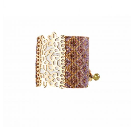 Широкий браслет из бисера сиреневого/темно-золотистого цвета с золотистой декоративной пластиной - BRANCH GP 926