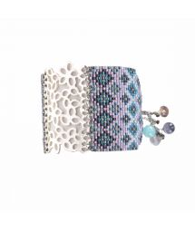 Blue-toned beaded cuff bracelet with engraved plate - BRANCH SP 1213