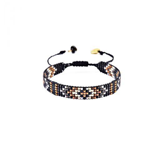 Black / copper woven beaded bracelet - CALLA-BE-S-4724