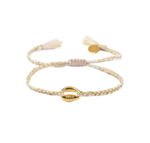 Braided slim bracelet with golden shell - CARACOLITO GP-XS-8356