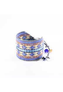 Cuff in dark blue beads with a woven ribbon - Collage EL 3325