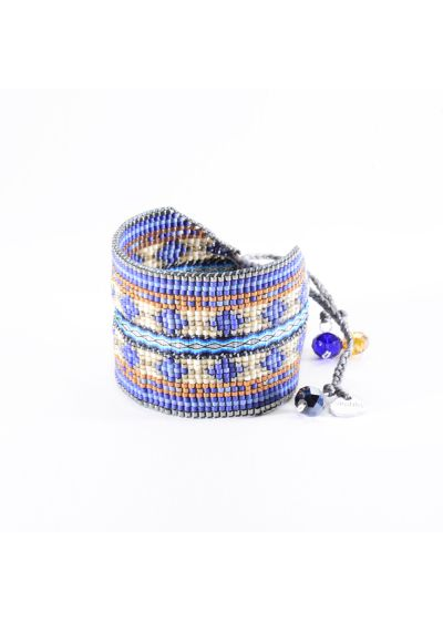Cuff indark blue beads with awoven ribbon - Collage EL 3325