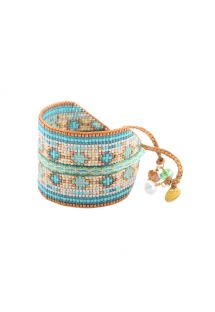 Bracelet with copper-coloured beads and blue threads- COLLAGE EL 2899