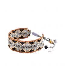 Etniskt armband av pärlor och vävda band - COLLAGE EL M 2898
