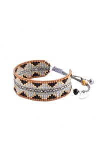Ethnic-style bracelet in beadwork and woven threads - COLLAGE EL 2898