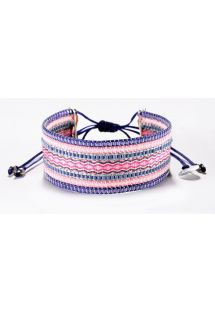 Pearl bracelet with pink and violet woven threads - COLLAGE PURPLE PINK