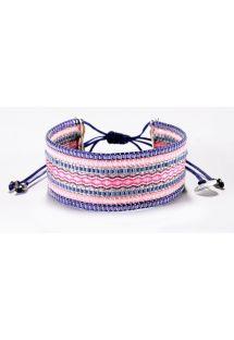 ピンクとバイオレットの刺繍入りの真珠ブレスレット - COLLAGE PURPLE PINK