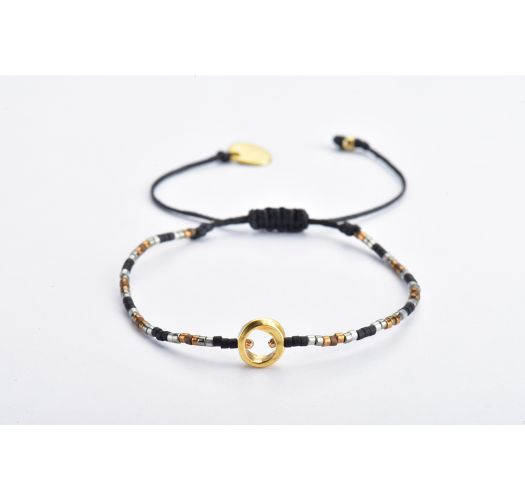 Black slim bracelet with pearls and gold center - CONSTELLATION LINY 2.0-GP-XS-7324