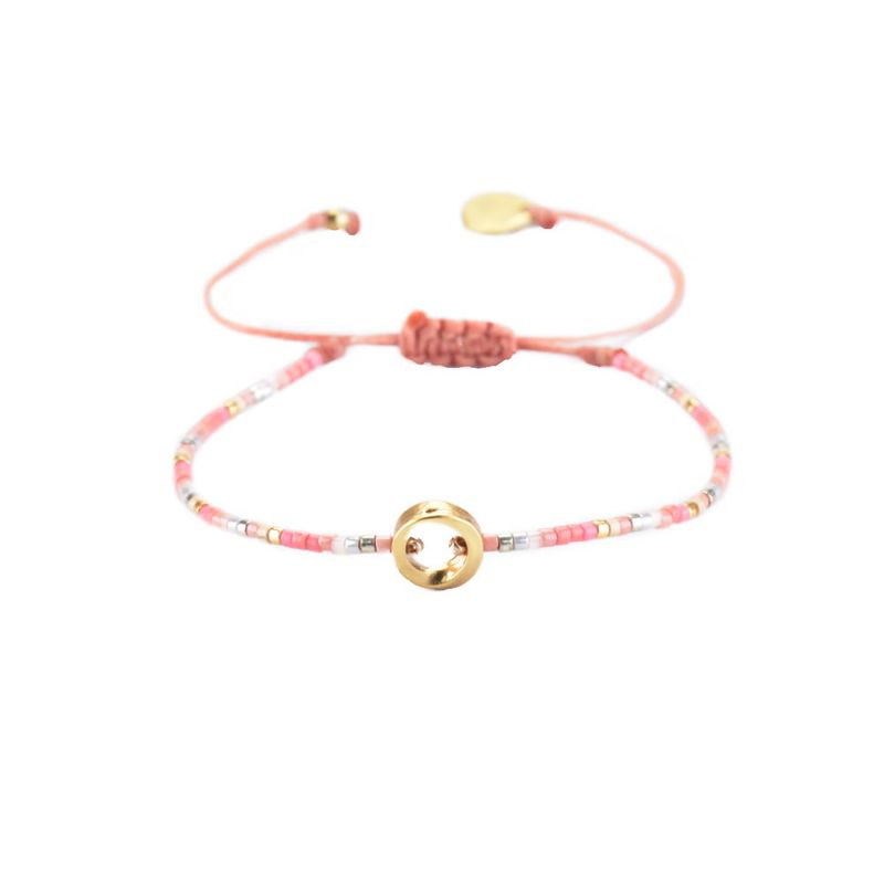 Pink slim bracelet with pearls and gold center - CONSTELLATION LINY 2.0-GP-XS-7568