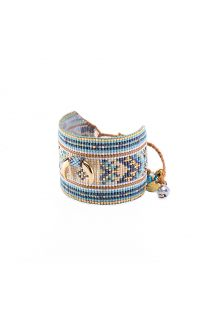Cuff with blue beads and golden crescent detail CRESCENT LE 4104L