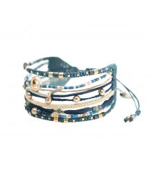 Blue / gold cuff with pearls and heart charm - CRISTAL 3.0-BE-M-7851