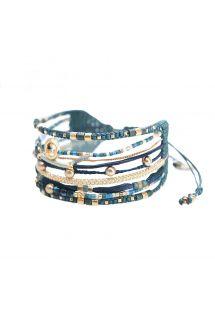 Blått / gullfarget armebånd med perler og hjerte - CRISTAL 3.0-BE-M-7851