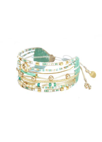 Green / gold cuff with pearls and heart charm - CRISTAL 3.0-BE-M-7863