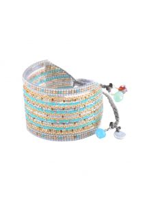 Blue and grey cuff with beads and chains - Cristal GP 2244