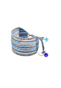 Cuff with blue beads and gold coloured chains - Cristal GP 2245