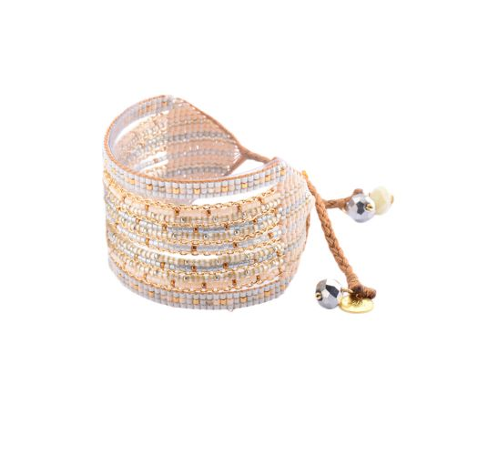 Beaded cuff bracelet with gold chain stitches - Cristal GP 2246