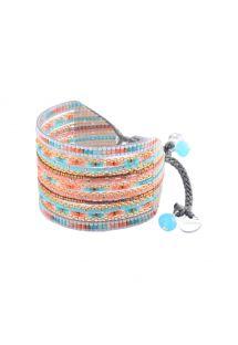 Kolorowa szeroka bransoleta z koralikami i łańcuszkiem - Cristal GP L 2249