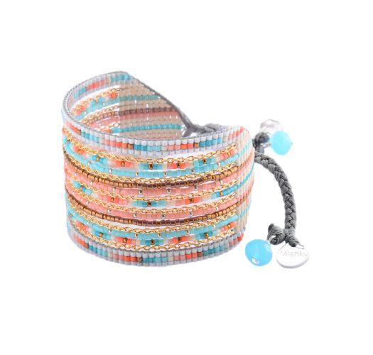 Multi-coloured bead and chain cuff - Cristal GP 2249