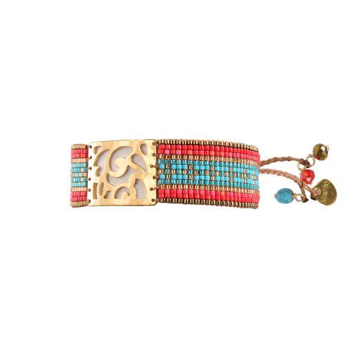 Bracelet ARABESQUE DARK GOLD CORAL TURQUOISE
