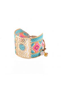 Multicolour cuff, beads and gilded plate - Dew Drop GP 4128L