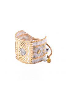 Chic bead cuff with gilded metal plate- Dew Drop GP 4136L