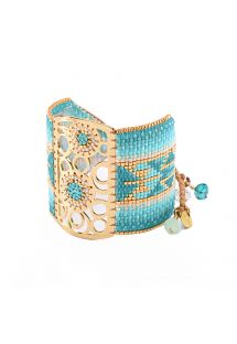 Blue bead cuff, dreamcatcher motif - Dream Catcher GP 4110