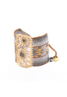 Grey bead cuff, dreamcatcher motif - Dream Catcher GP 4111