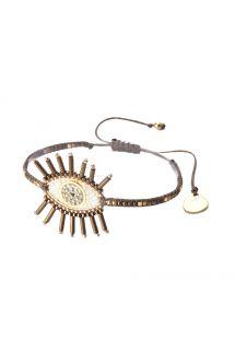Bracelet fin en perles et œil bronze/blanc - EVIL EYE LASH ROW BE-S-7948