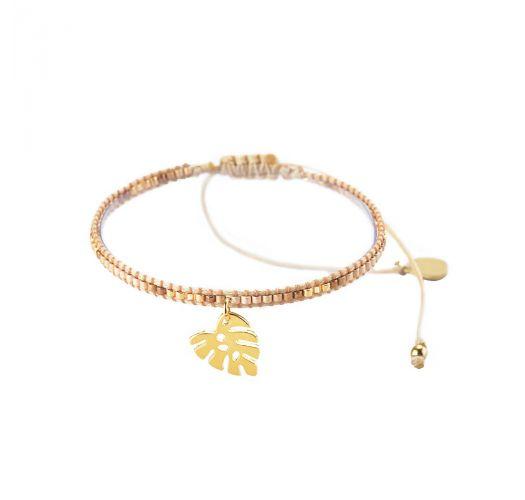 Регулируемый тонкий браслет с золотыми бусинками и листиком - HOJA ROTA-BE-S-7575