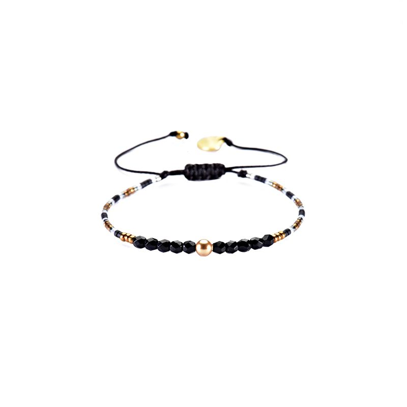 Adjustable slim black / gold bracelet with faceted beads - LINY 2.0-BE-XS-4718
