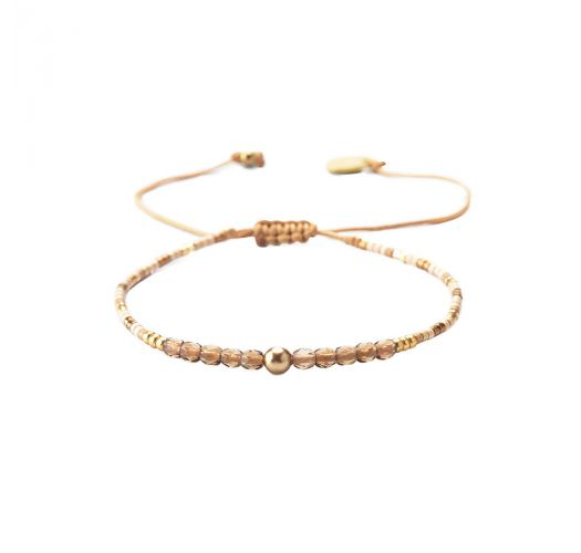 Adjustable slim gold bracelet with faceted beads - LINY 2.0-BE-XS-7546